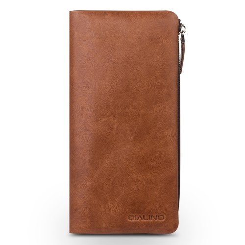 Qialino Leather Wallet (iPhone) - Brun