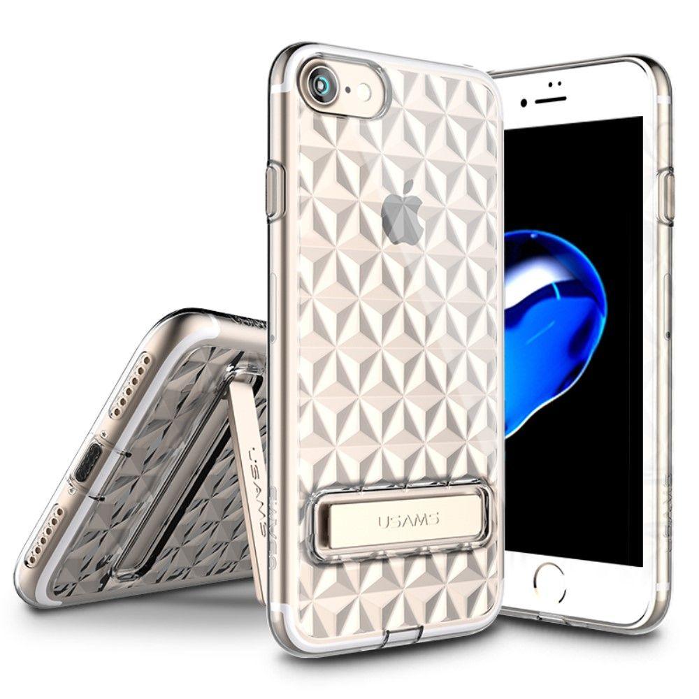 Usams 3D Rhombic Clear TPU Kickstand (iPhone 7) – Svart