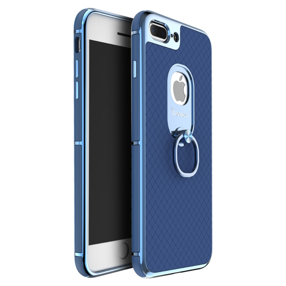 iPaky Ring Holder Kickstand Cover (iPhone 8/7 Plus) - Blå
