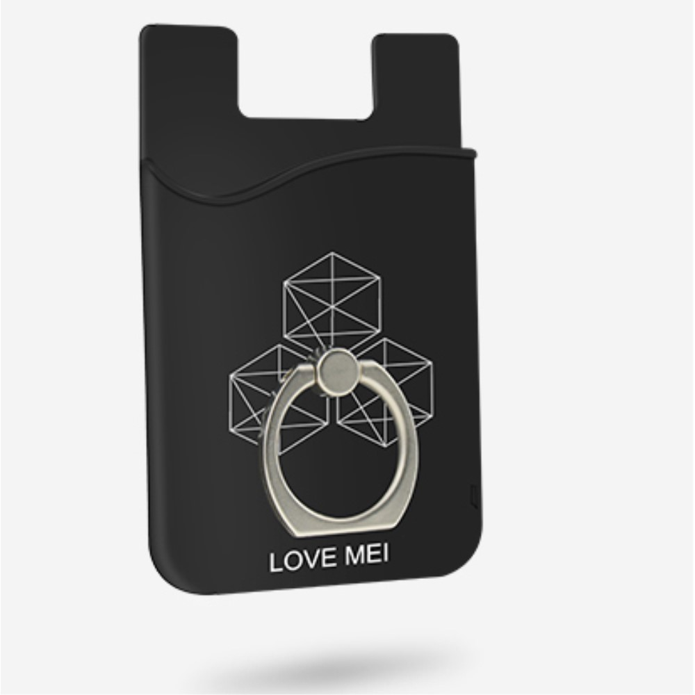 Love Mei Card Holder with Finger Ring Kickstand (iPhone) - Blå