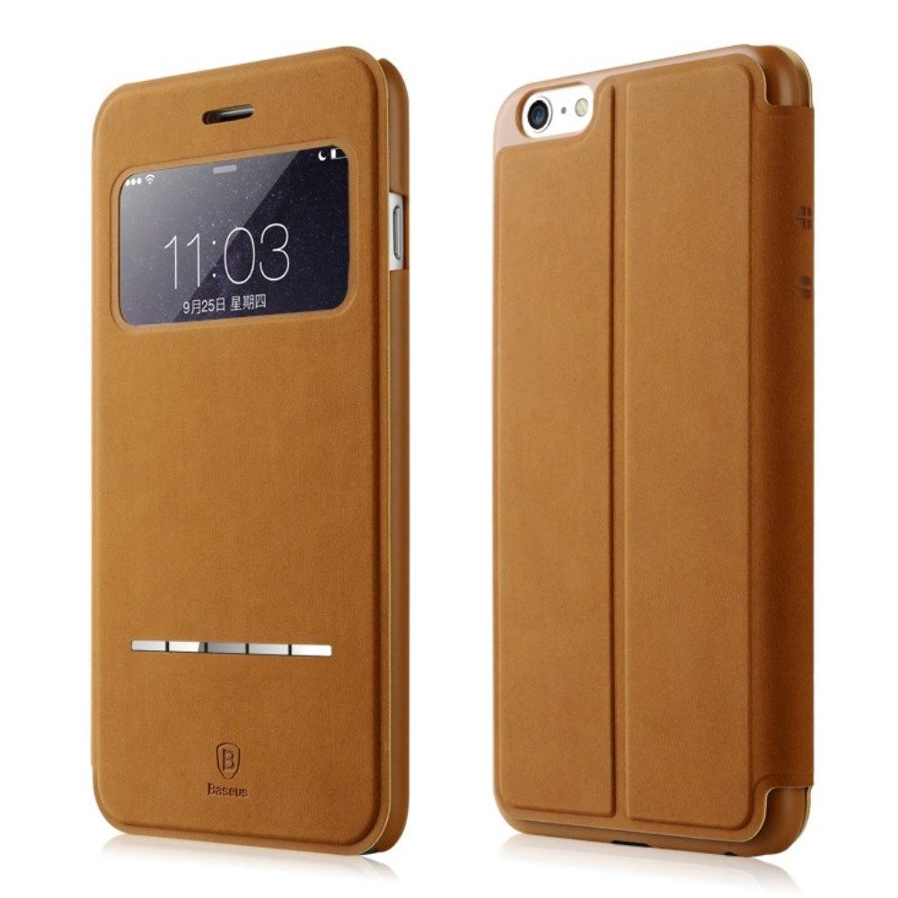 Baseus Terse Leather Cover (iPhone 6(S) Plus) - Brun