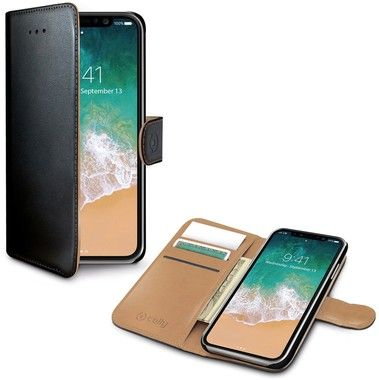 Celly Wallet Case (iPhone X/Xs) - Svart
