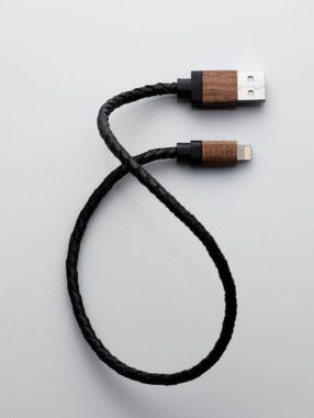 Le Cord Leather & Wood Lightning Cable - svart