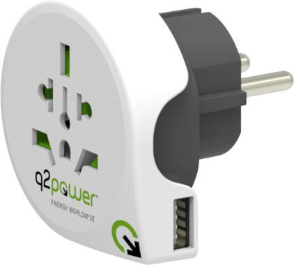Q2Power Grounded Travel adapter 10A 1xUSB