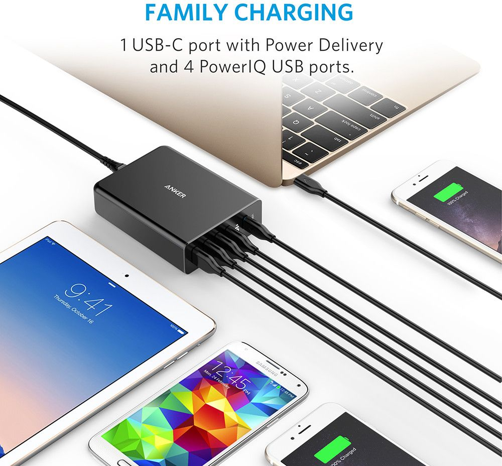 Anker PowerPort+ 5 USB Hub with PD
