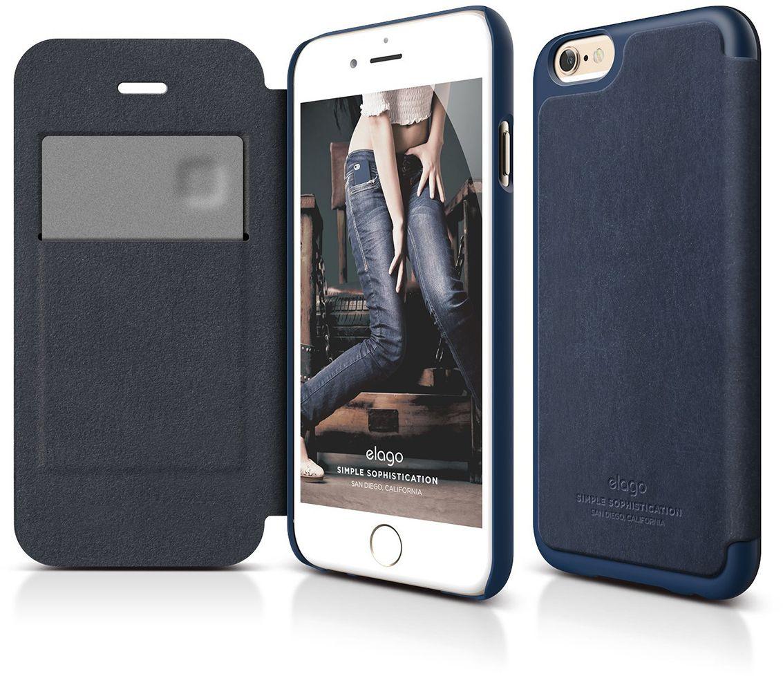 Elago Leather Flip Case (iPhone 6/6S) – Svart