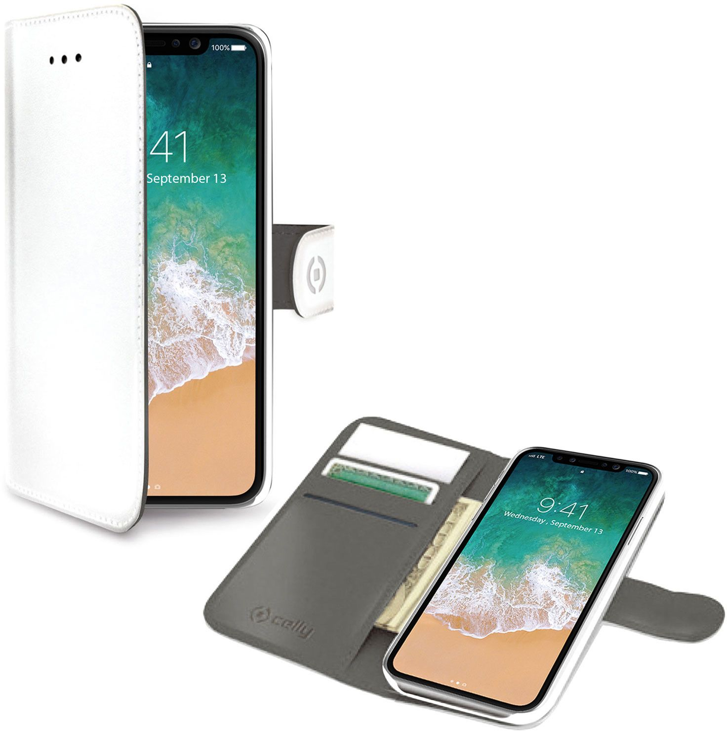 Celly Wallet Case (iPhone X/Xs)- Vit