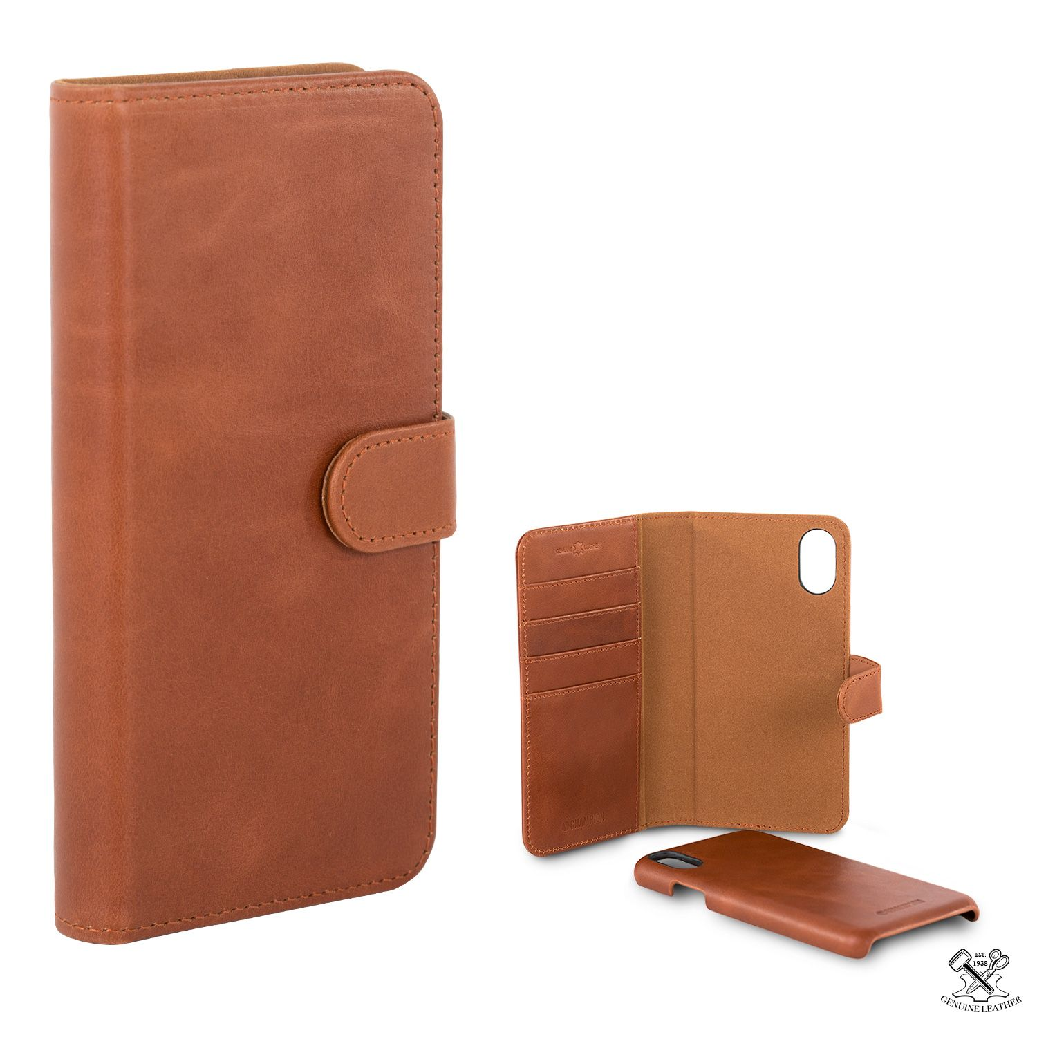 Champion Leather Wallet (iPhone Xs Max) - Brun