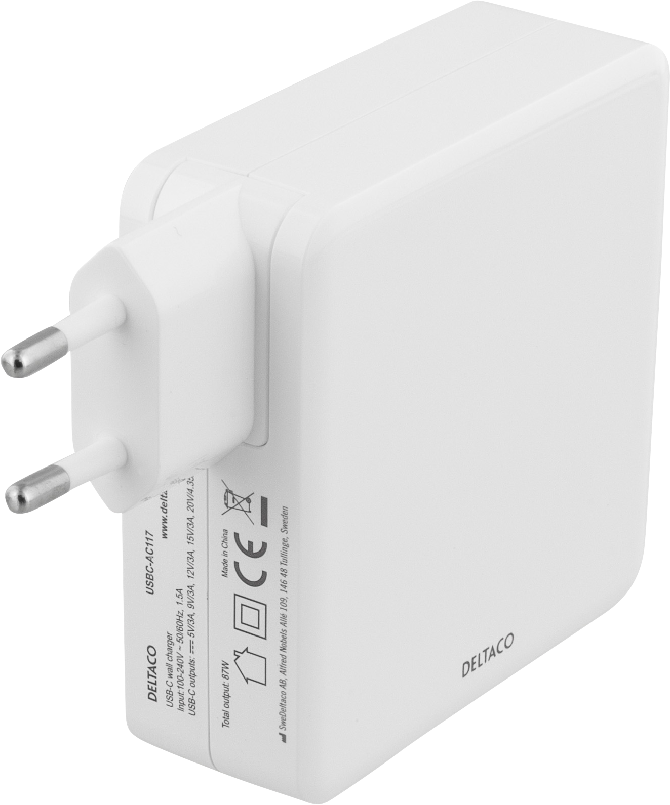 Deltaco 87W PD USB-C Wall Charger