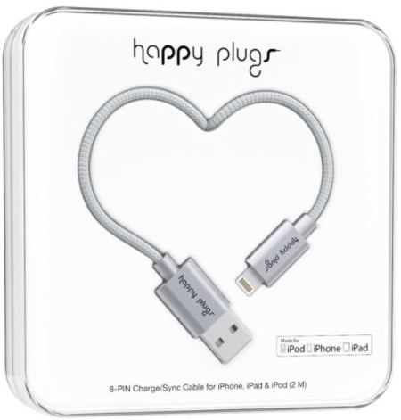Happy Plugs Lightning Charge/Sync Cable - grå
