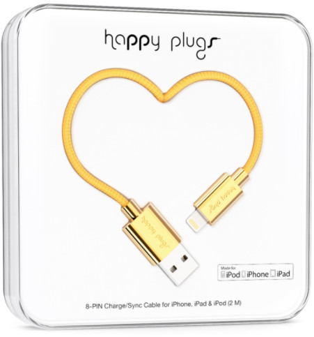 Happy Plugs Lightning Charge/Sync Cable - guld