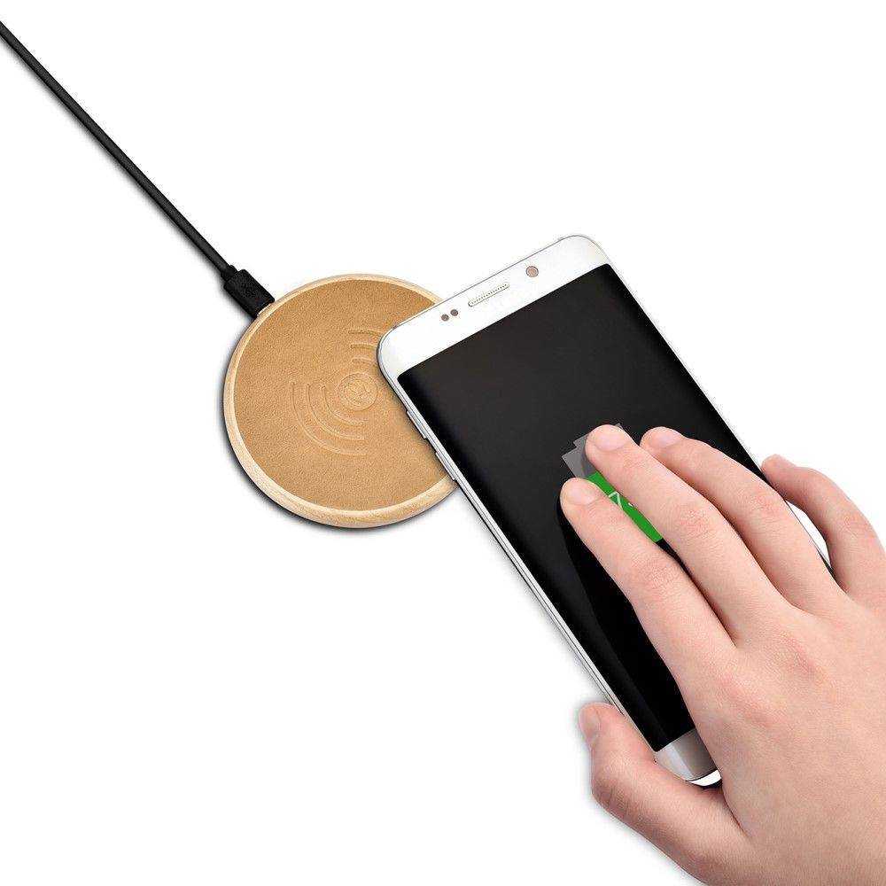iCarer Qi Leather & Wooden Charger (iPhone)