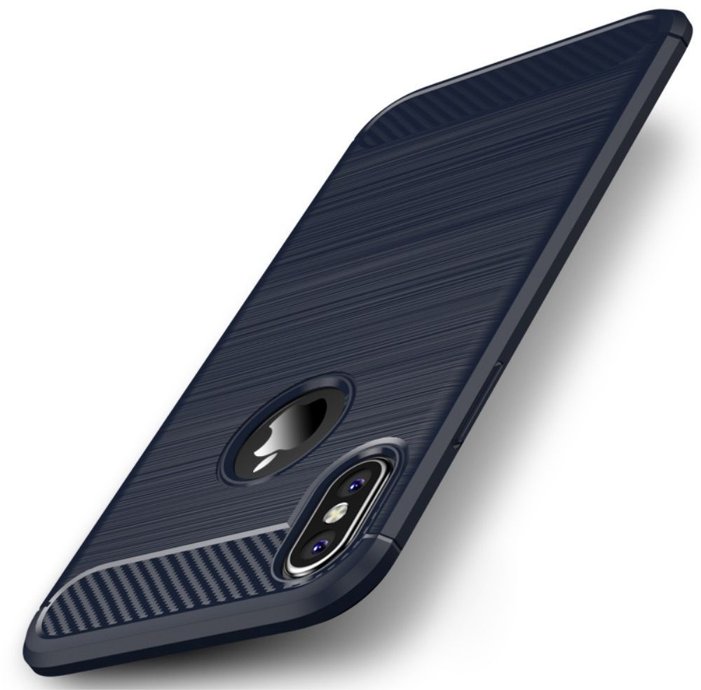 iPaky Carbon Brushed Case (iPhone X/Xs) - Blå
