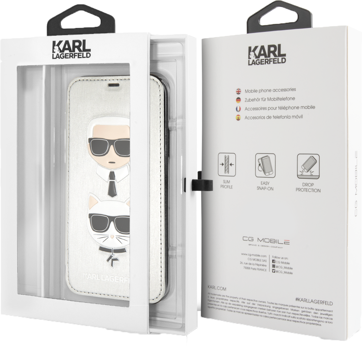 Karl Lagerfeld and Choupette Flip Cover (iPhone X/Xs)
