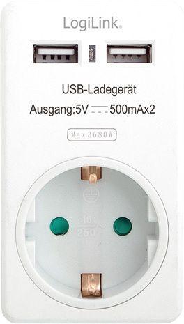 LogiLink AC Adapter med 2 USB-uttag