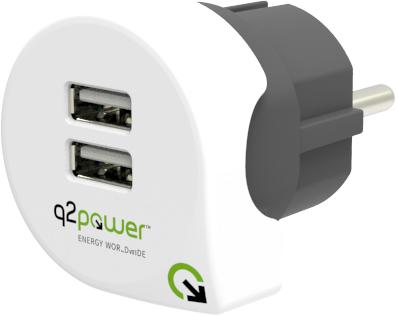 Q2Power Travel Charger 2,4A 2xUSB