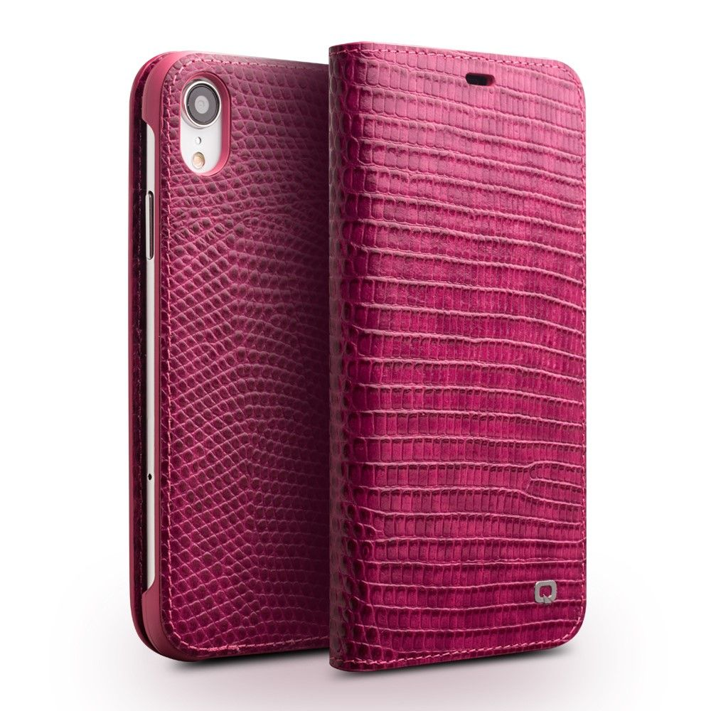 Qialino Pink Croco Leather Wallet (iPhone Xr)