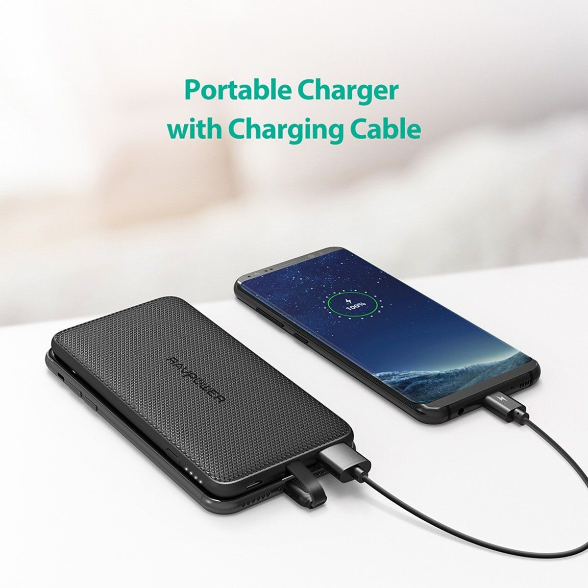 RAVPower Blade 10000mAh Power Bank with Lightning Cable