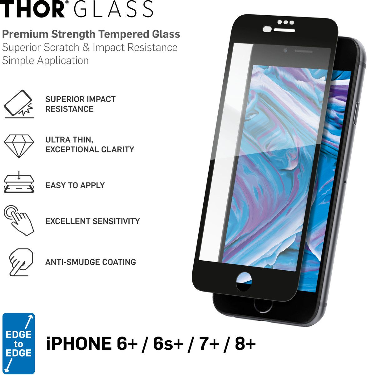 THOR Full Screen Glass with Applicator (iPhone 8/7/6/6(S) Plus)