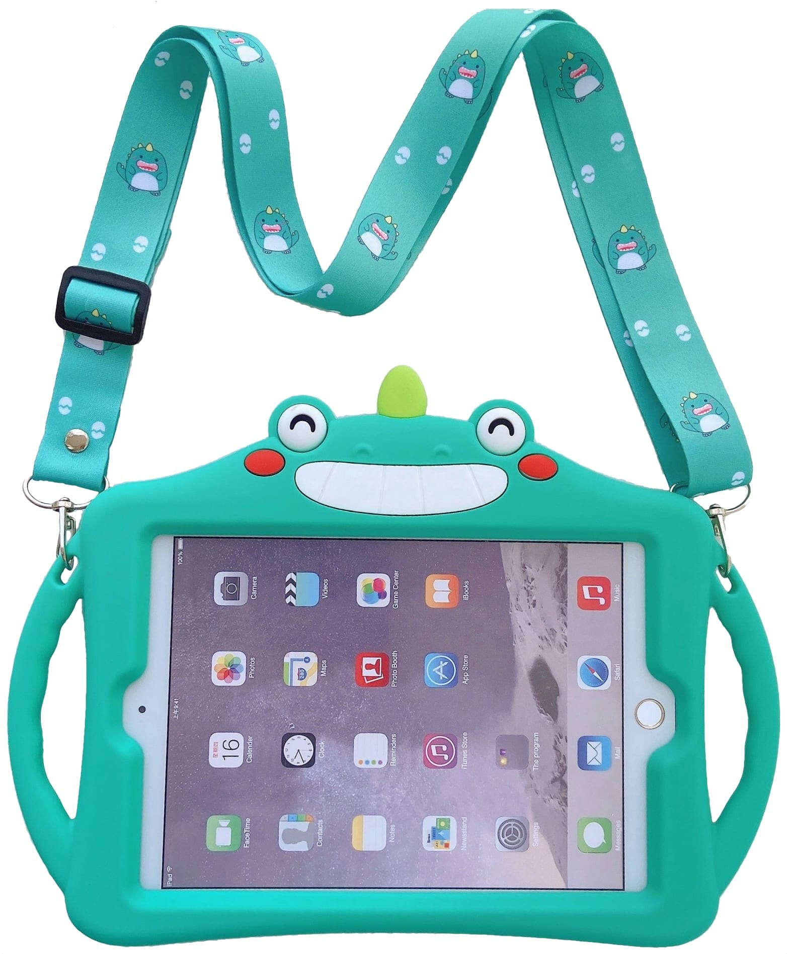 Trolsk Kids Case with strap - Green Unicorn (iPad 10,2)