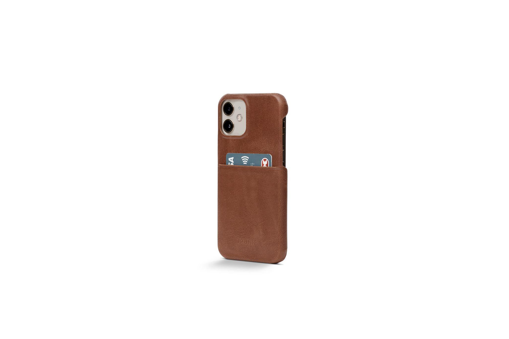 Trunk Leather Back Cover (iPhone 12 mini) - Brun