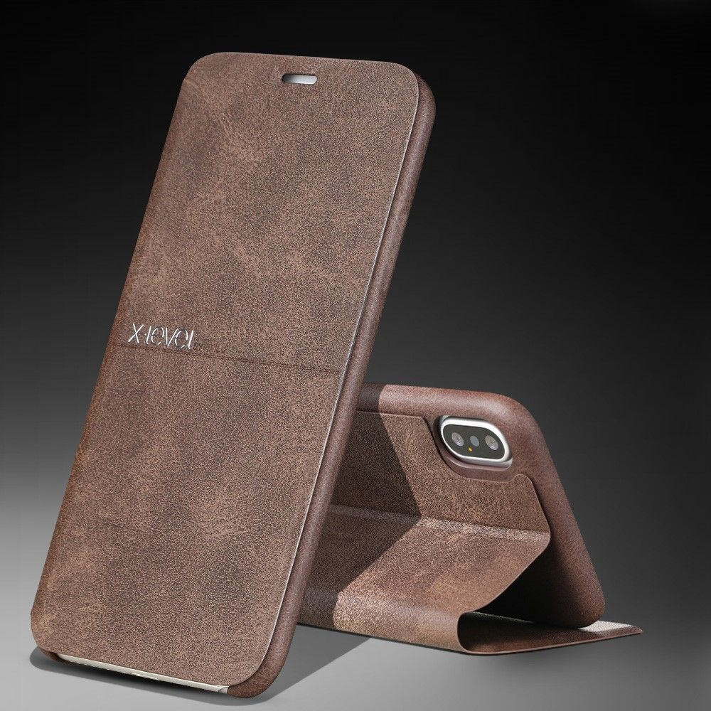 X-level Leather flip Stand Case (iPhone Xr) - Brun