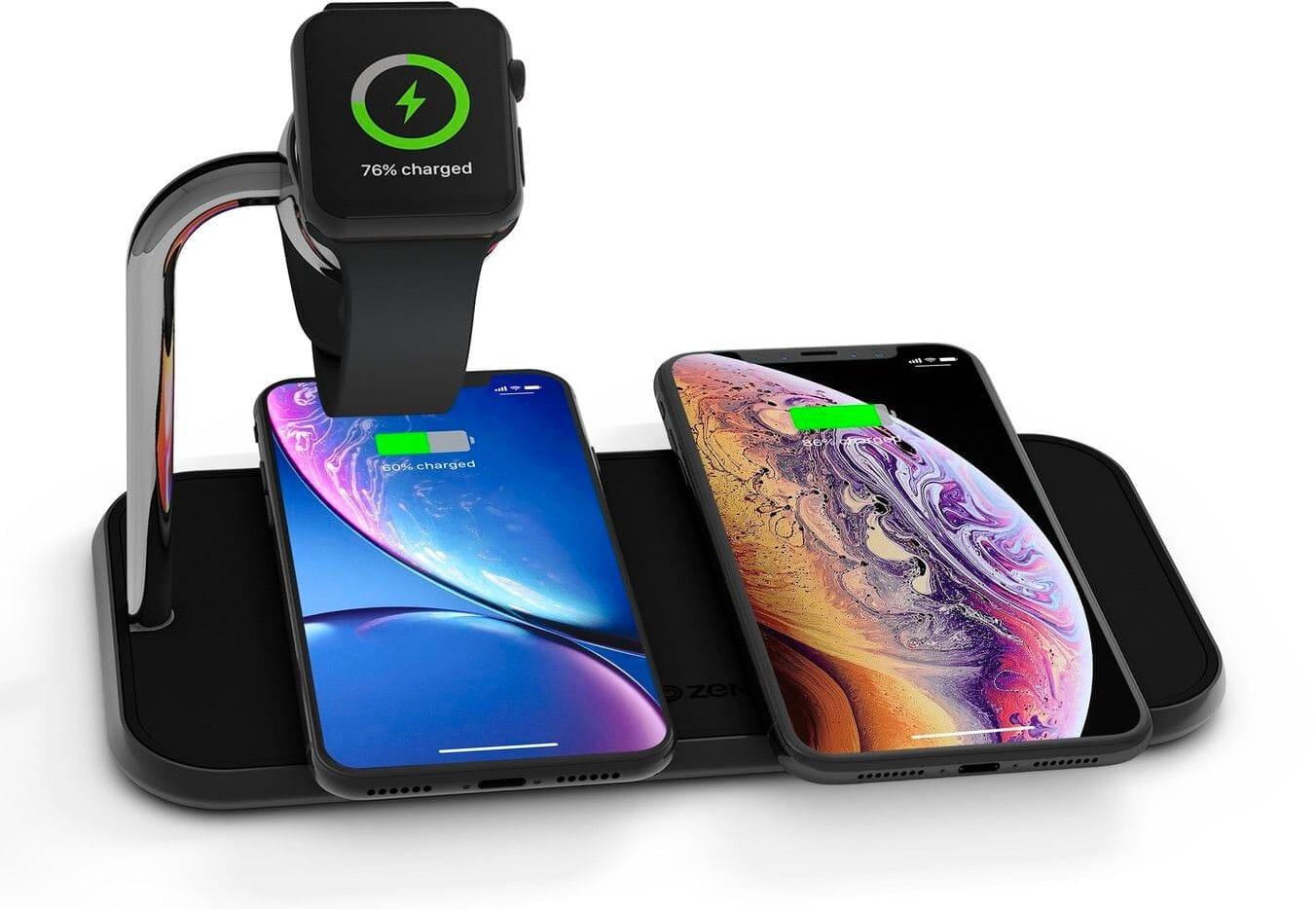 Zens Dual+Watch Aluminium Wireless Charger - Svart